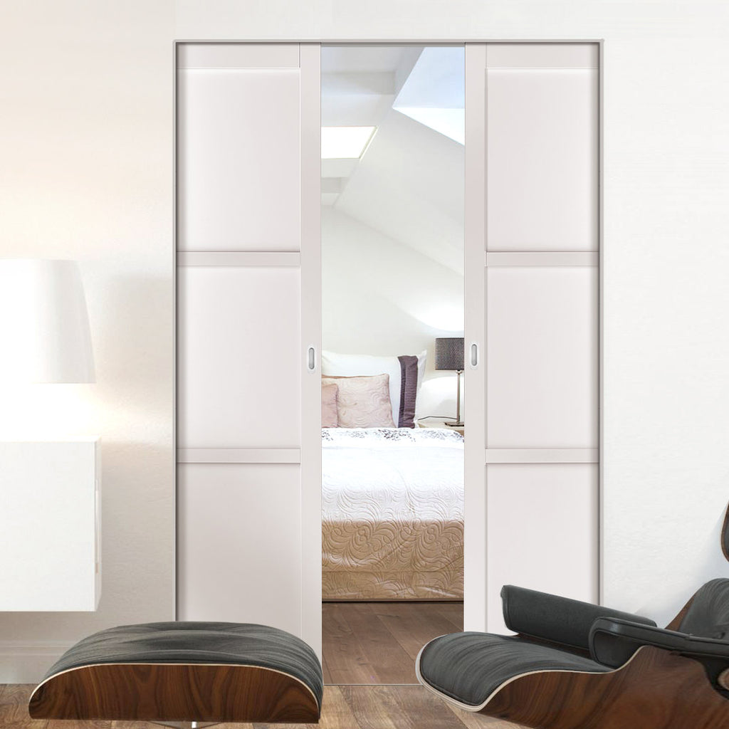 Bespoke Double Frameless Pocket Door WK6305 - 2 Prefinished Colour Choices