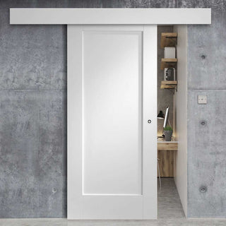 Image: Bespoke Thruslide Surface P10 1P - Sliding Door and Track Kit - White Primed