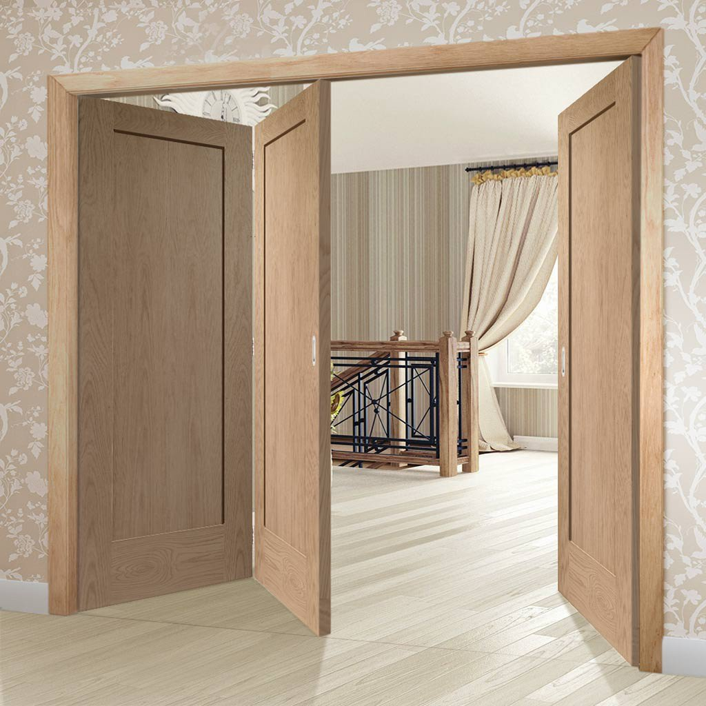 Bespoke Thrufold Pattern 10 Oak 1 Panel Folding 2+1 Door