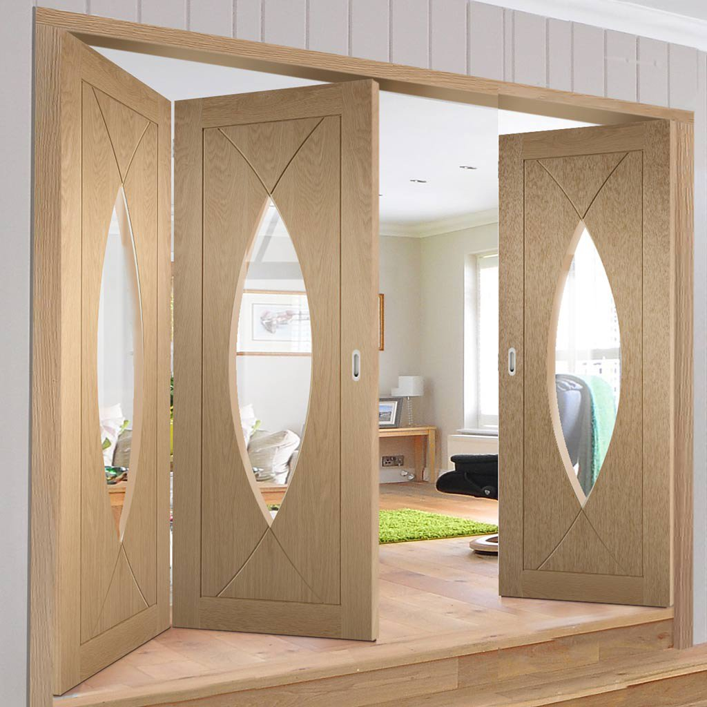 Bespoke Thrufold Pesaro Oak Glazed Folding 2+1 Door