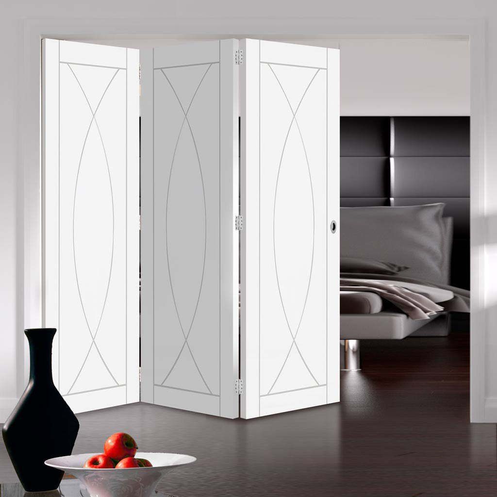 Bespoke Thrufold Pesaro White Primed Flush Folding 3+0 Door