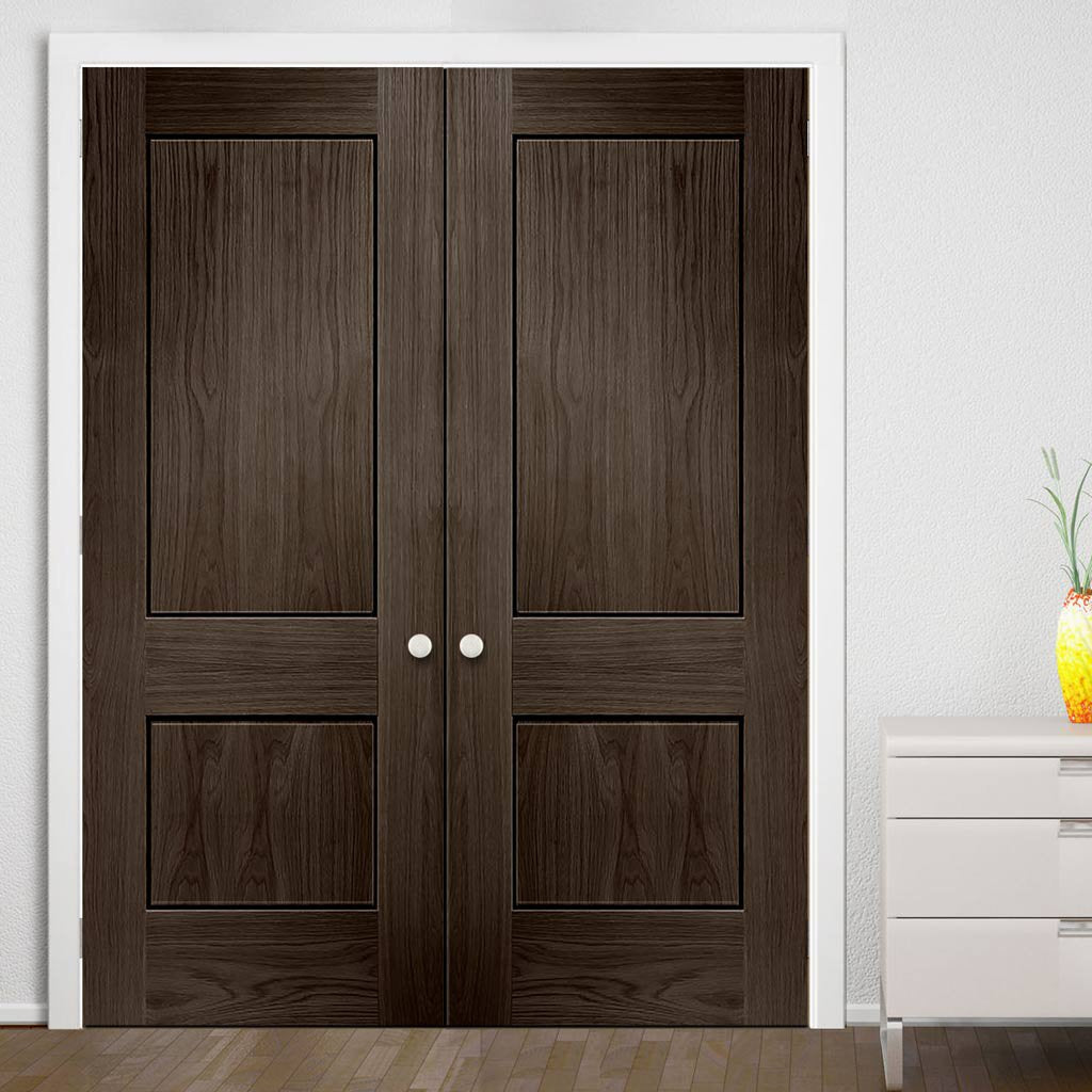 Prefinished Bespoke Piacenza Oak Flush Door Pair - Groove Design - Choose Your Colour