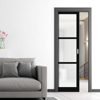 Image: Bespoke Single Pocket Door WK6356 - Frosted Glass - 2 Prefinished Colour Choices
