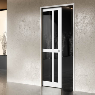 Image: Bespoke Single Pocket Door WK6362 - Clear Glass - 2 Prefinished Colour Choices