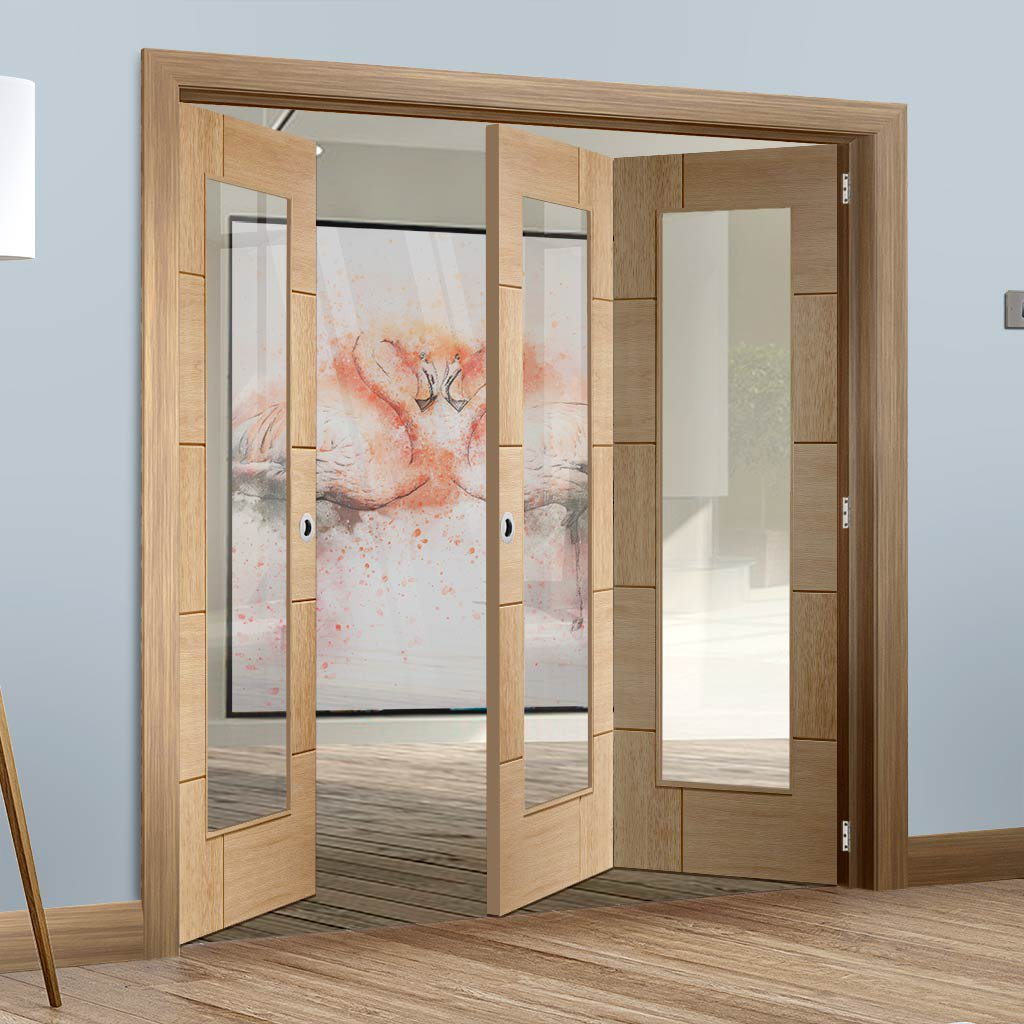 Bespoke Thrufold Ravenna Oak Glazed Folding 2+1 Door