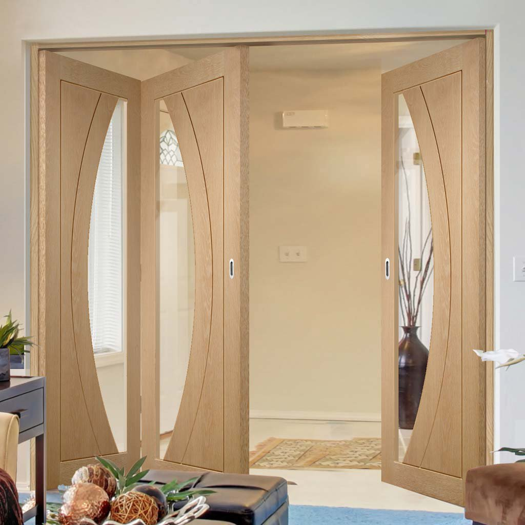 Bespoke Thrufold Salerno Oak Glazed Folding 2+1 Door