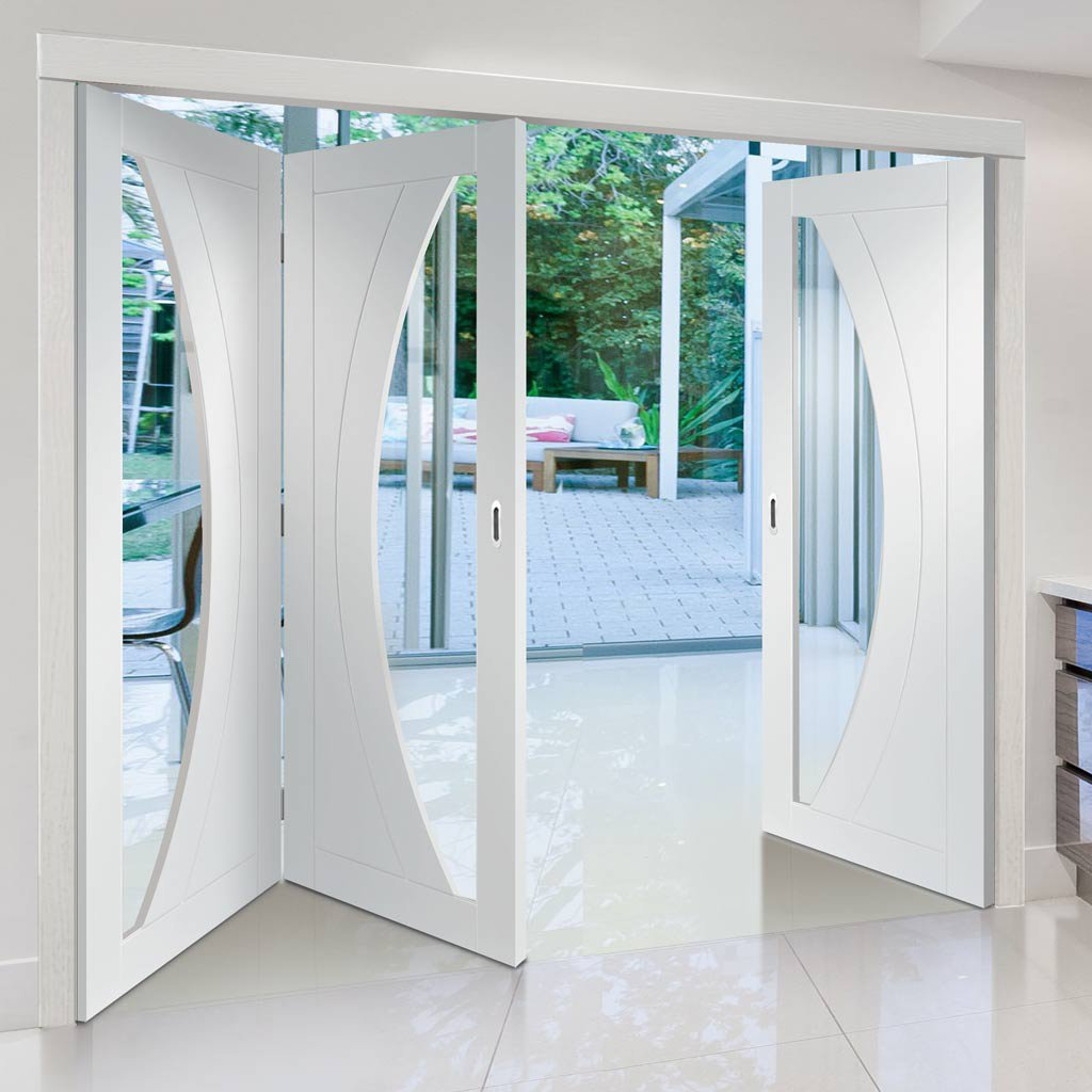 Bespoke Thrufold Salerno White Primed Glazed Folding 2+1 Door