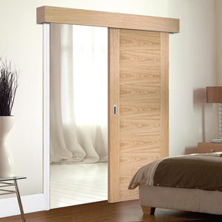 Image: Bespoke Thruslide Surface Sofia Oak Flush Door - Sliding Door and Track Kit - Prefinished