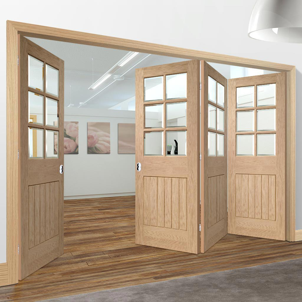 Bespoke Thrufold Suffolk Oak 6 Pane Glazed Folding 3+1 Door - Prefinished