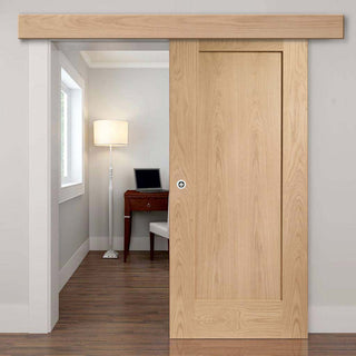 Image: Bespoke Thruslide Surface P10 Oak 1 Panel - Sliding Door and Track Kit