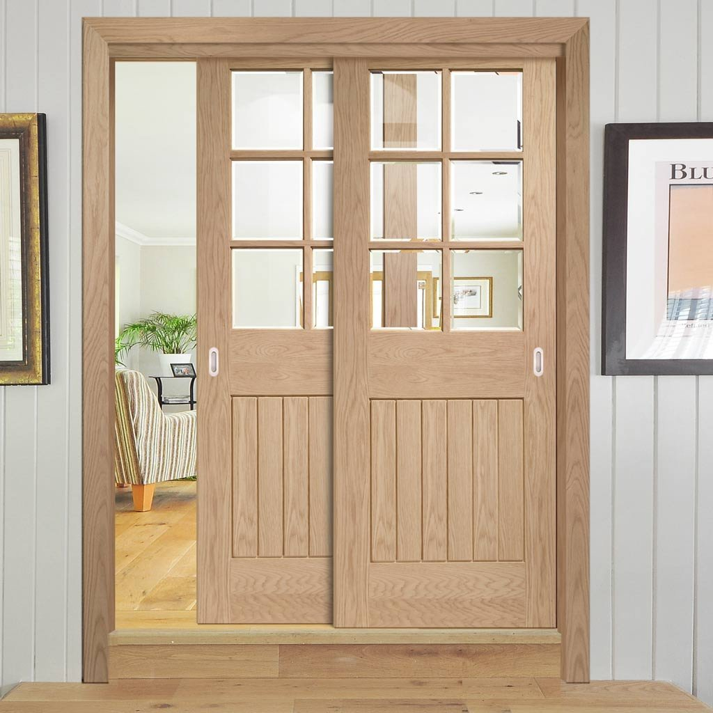 Two Sliding Doors and Frame Kit - Suffolk Oak 6 Pane Door - Bevelled Clear Glass - Prefinished