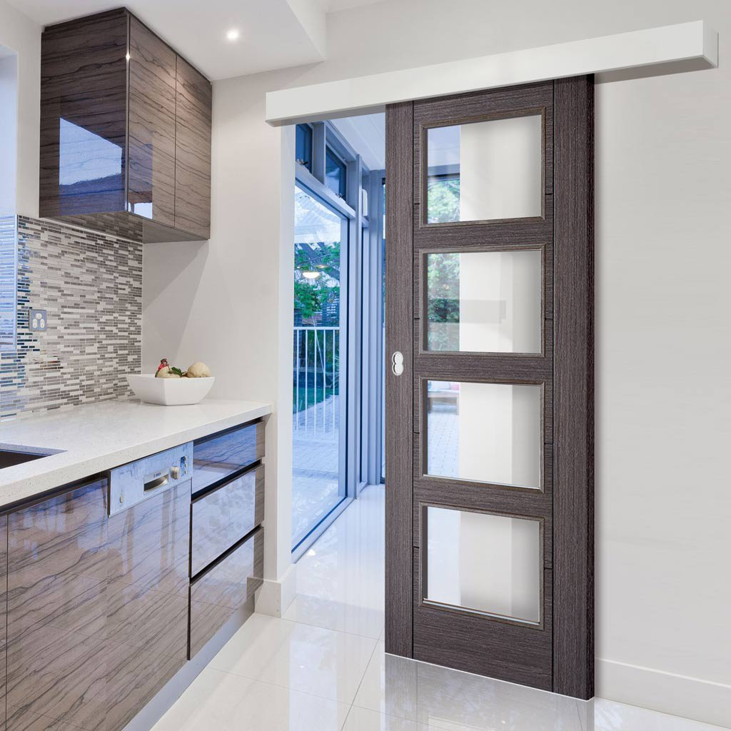 Bespoke Thruslide Surface Vancouver Ash Grey 4l Door Clear Glass S
