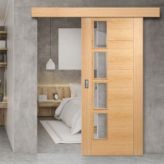 Image: Bespoke Thruslide Surface Vancouver Oak 4L Door - Clear Glazed Offset - Sliding Door and Track Kit - Prefinished