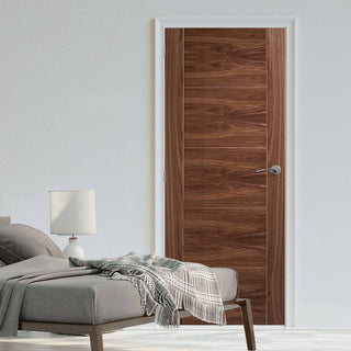 Image: LPD Joinery Bespoke Fire Door, Vancouver Walnut 5P Flush - 1/2 Hour Fire Rated - Prefinished