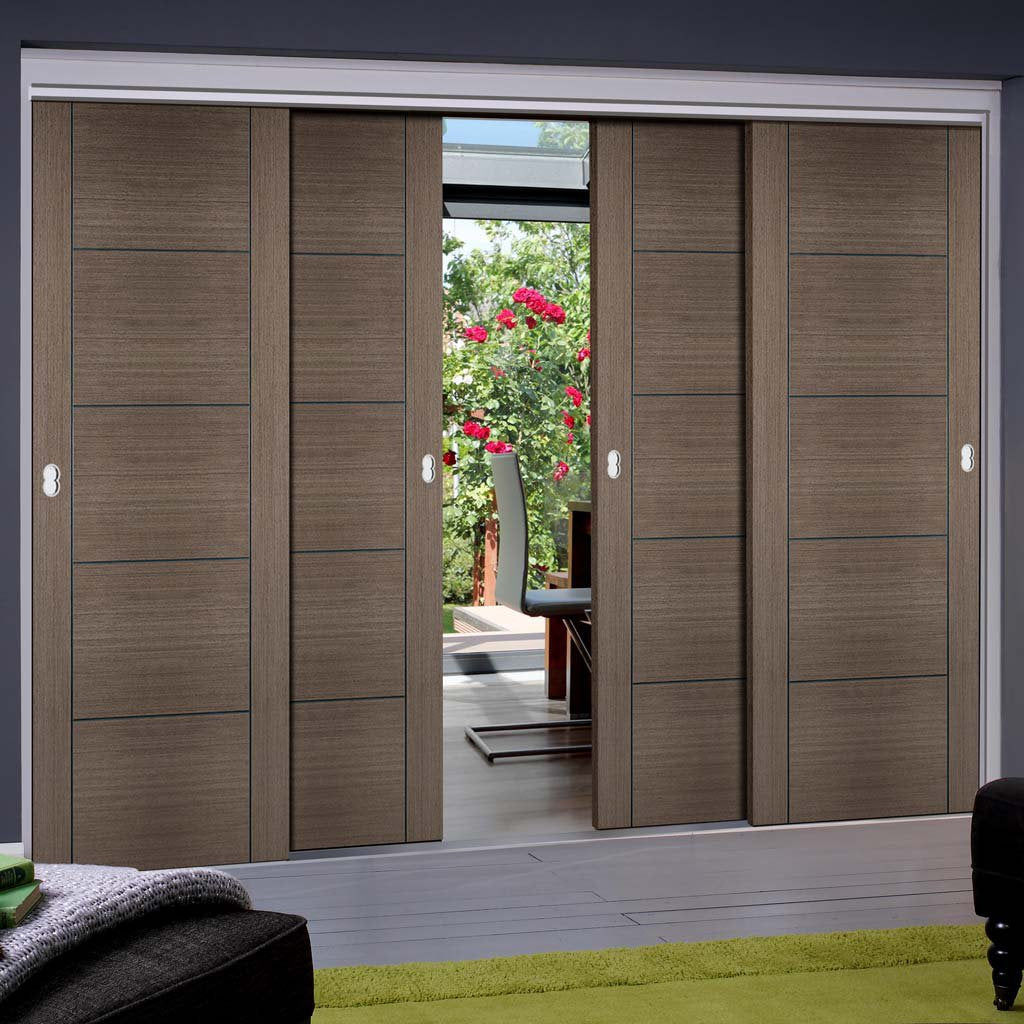 Bespoke Thruslide Vancouver Chocolate Grey Door - Prefinished 4 Sliding Doors and Frame Kit