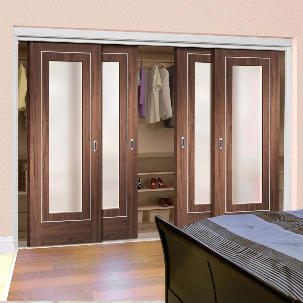 Bespoke Thruslide Varese Walnut Glazed 4 Door Wardrobe and Frame Kit - Aluminium Inlay - Prefinished