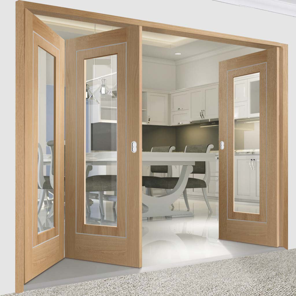 Bespoke Thrufold Varese Oak Glazed Folding 2+1 Door - Aluminium Inlay - Prefinished