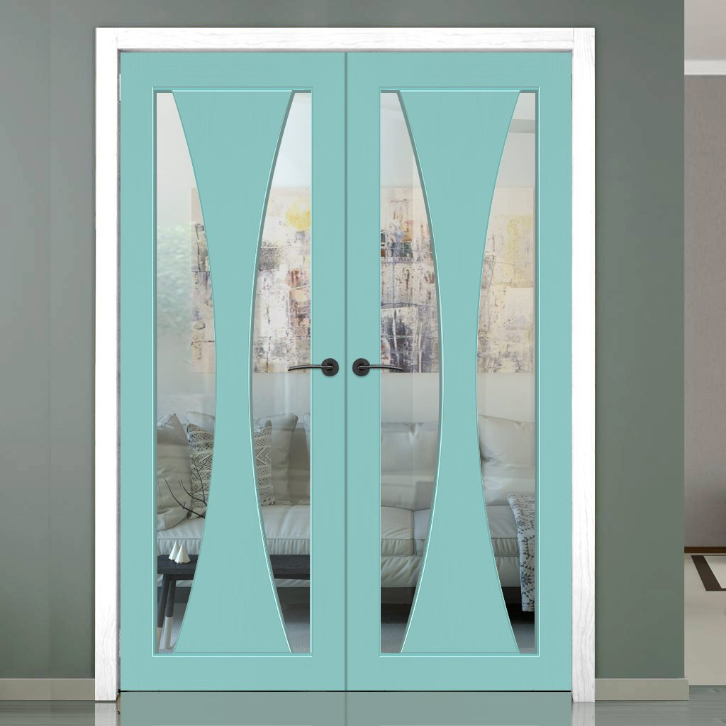 Prefinished Verona Door Pair - Clear Glass - Choose Your Colour