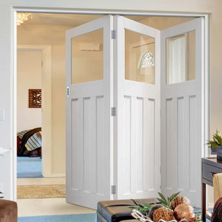 Image: Bespoke Thrufold DX 1930's White Primed Glazed Folding 3+0 Door