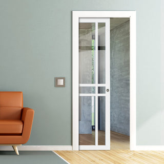 Image: Bespoke Single Pocket Door WK6314 - Clear Glass - 2 Prefinished Colour Choices