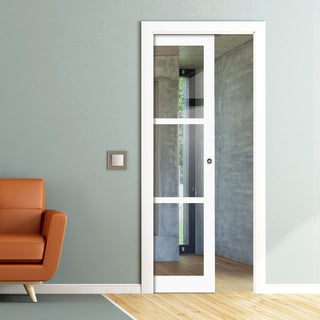 Image: Bespoke Single Pocket Door WK6356 - Clear Glass - 2 Prefinished Colour Choices
