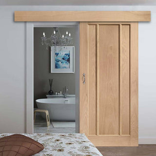 Image: Bespoke Thruslide Surface Worcester Oak 3 Panel - Sliding Door and Track Kit