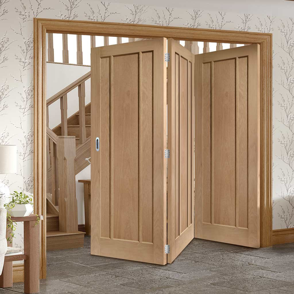 Bespoke Thrufold Worcester Oak 3 Panel Folding 3+0 Door