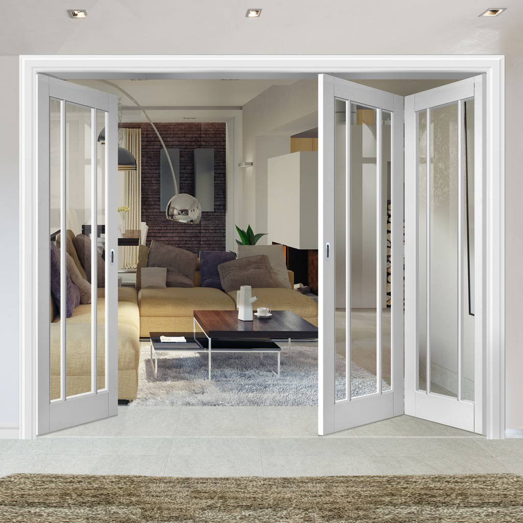 Three Folding Doors & Frame Kit - Worcester 3 Pane 2+1 - Clear Glass - White Primed