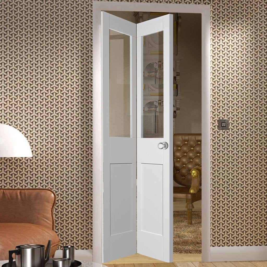 Malton Shaker Bi- Fold Door - Clear Glass - White Primed