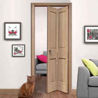 Image: Victorian Oak 2P Bi-Fold door - No Raised Mouldings
