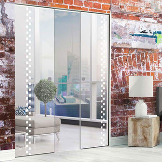 Image: Bilston 8mm Clear Glass - Obscure Printed Design - Double Absolute Pocket Door