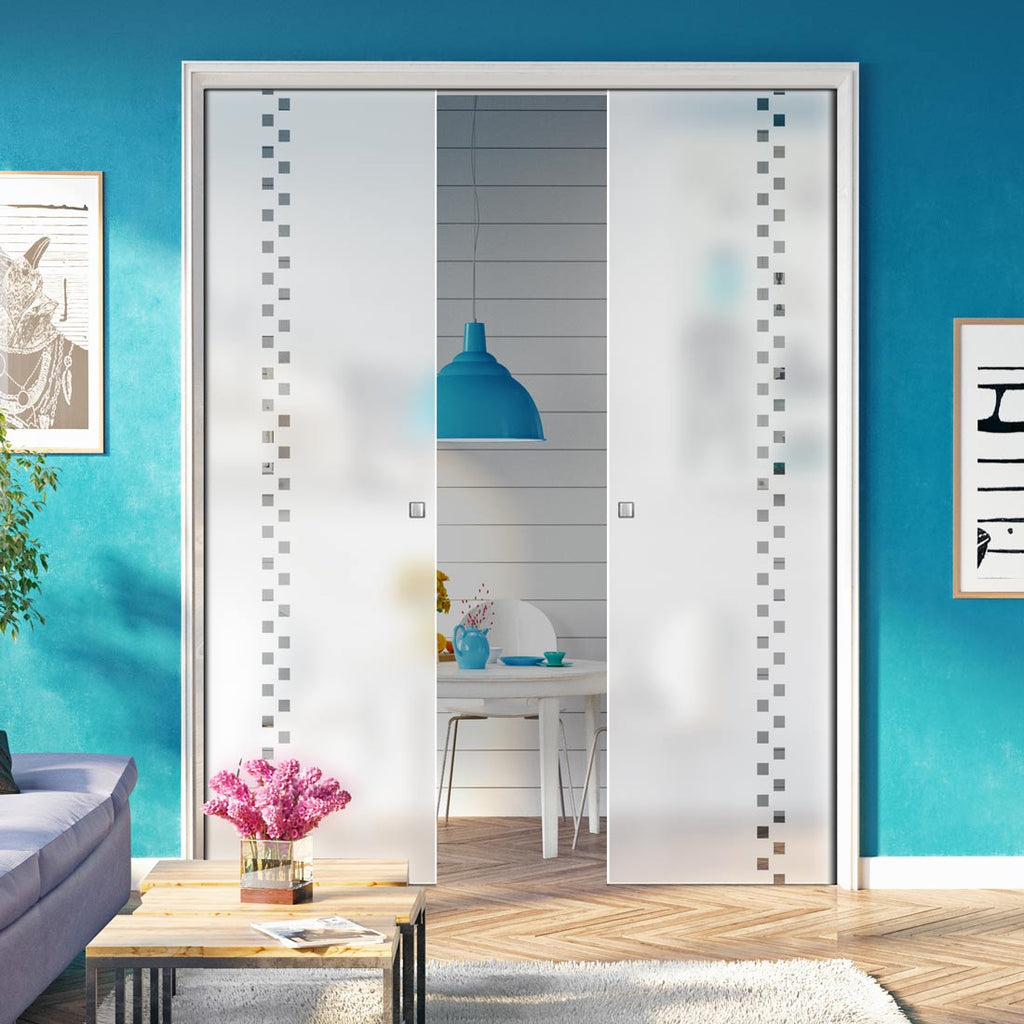 Bilston 8mm Obscure Glass - Clear Printed Design - Double Evokit Pocket Door