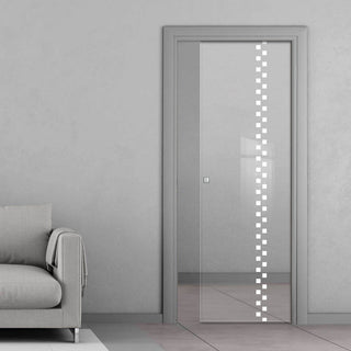 Image: Bilston 8mm Clear Glass - Obscure Printed Design - Single Evokit Glass Pocket Door