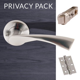 Image: Blade Satin Chrome Lever Latch Privacy Handles with Latch and 3 Hinge Pack