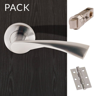 Image: Blade Satin Chrome Lever Latch Handles with Latch and 3 Hinge Pack
