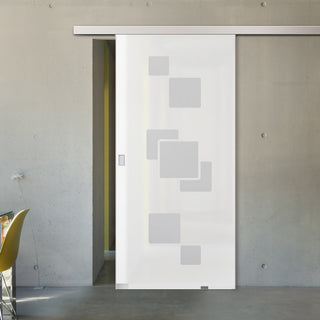 Image: Single Glass Sliding Door - Geometric Bold 8mm Obscure Glass - Obscure Printed Design with Premium Track