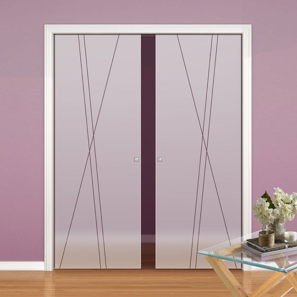 Borthwick 8mm Obscure Glass - Clear Printed Design - Double Evokit Pocket Door