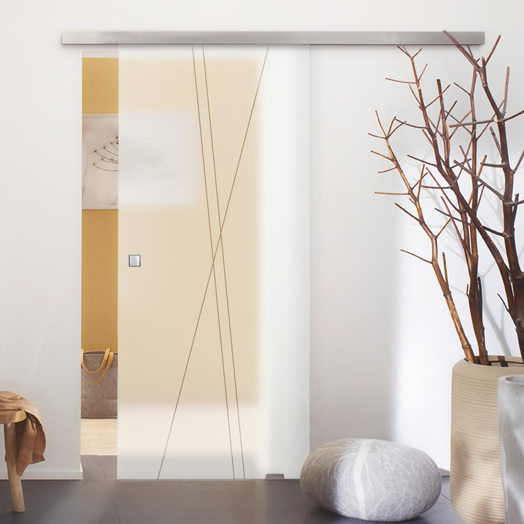 Single Glass Sliding Door - Borthwick 8mm Obscure Glass - Clear Printed Design - Planeo 60 Pro Kit