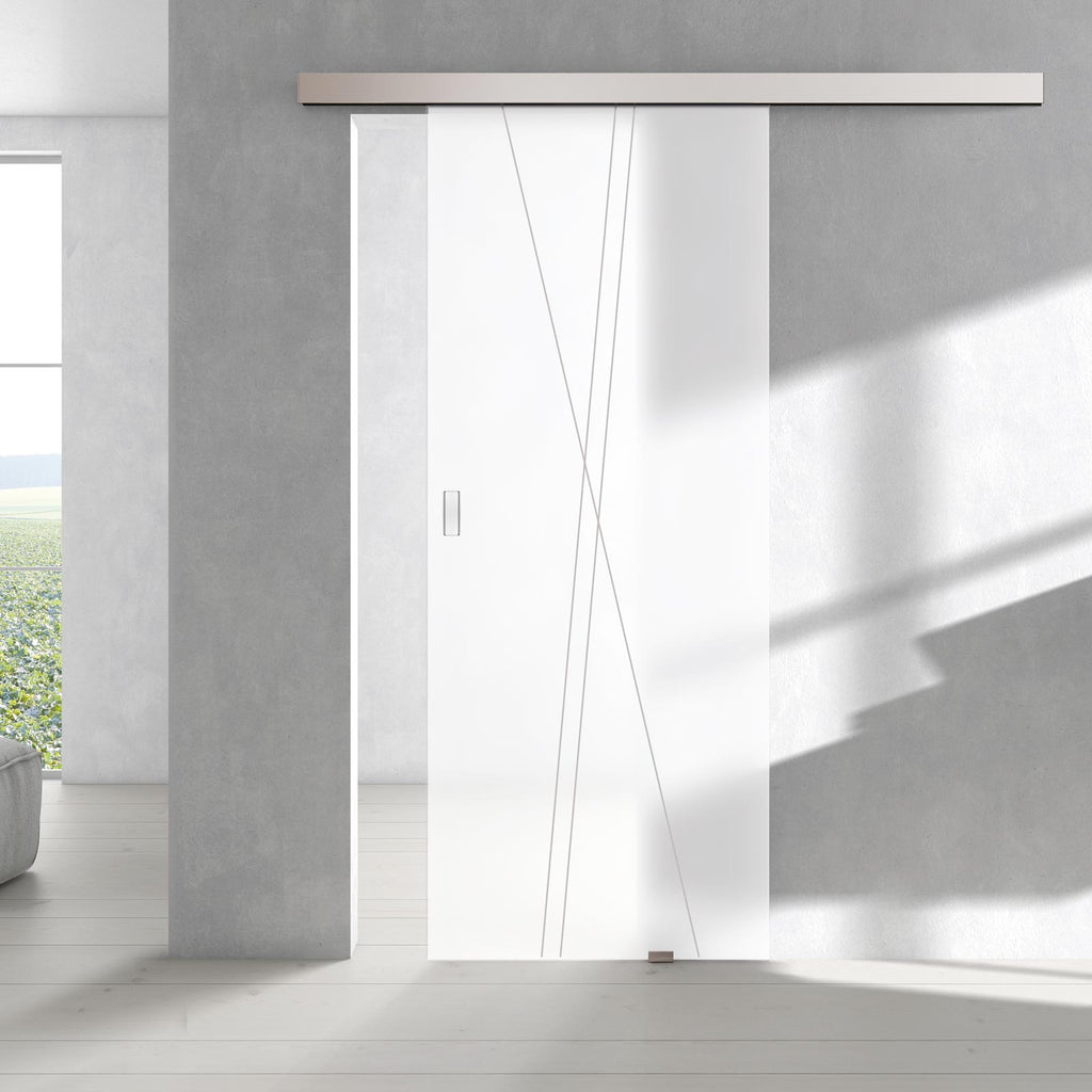 Single Glass Sliding Door - Borthwick 8mm Obscure Glass - Obscure Printed Design - Planeo 60 Pro Kit