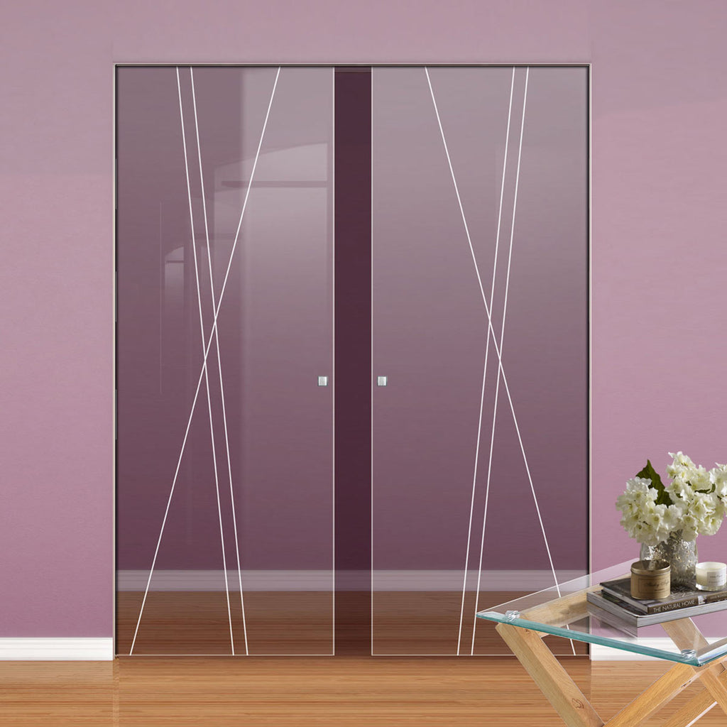 Borthwick 8mm Clear Glass - Obscure Printed Design - Double Absolute Pocket Door