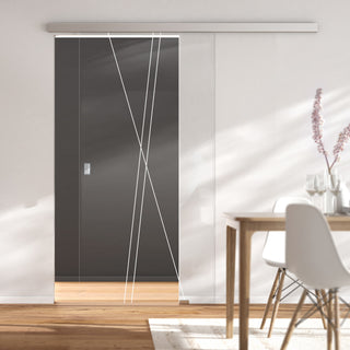 Image: Single Glass Sliding Door - Borthwick 8mm Clear Glass - Obscure Printed Design - Planeo 60 Pro Kit