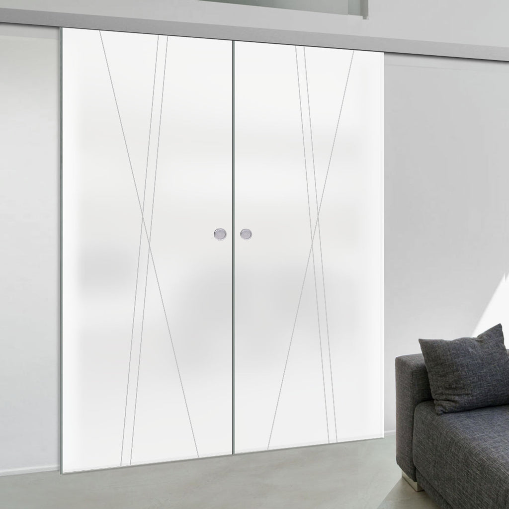 Double Glass Sliding Door - Borthwick 8mm Obscure Glass - Obscure Printed Design - Planeo 60 Pro Kit