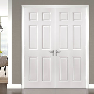 Image: JELD-WEN INTERNAL Bostonian Middleweight Woodgrain Door Pair - Fully Finished - Moulded Range