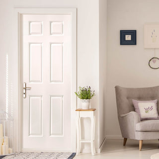 Image: JELD-WEN INTERNAL Bostonian Middleweight Woodgrain Door - Primed - Moulded Range