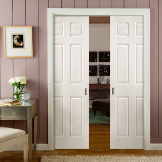 Image: JELD-WEN INTERNAL Bostonian Middleweight Double Evokit Pocket Door - Primed - Moulded Range