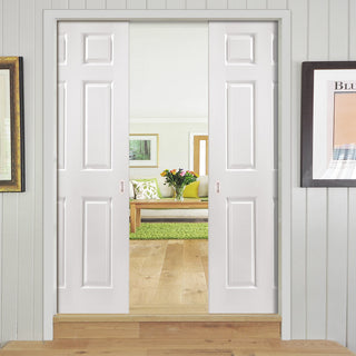 Image: JELD-WEN INTERNAL Bostonian Middleweight Double Evokit Pocket Door - Undercoated - Moulded Range