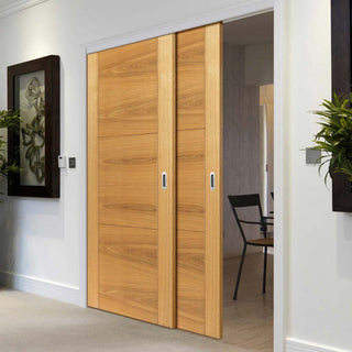 Image: Thruslide Brisa Mistral Flush Oak 2 Sliding Doors and Frame Kit - Decor Grooves - Prefinished