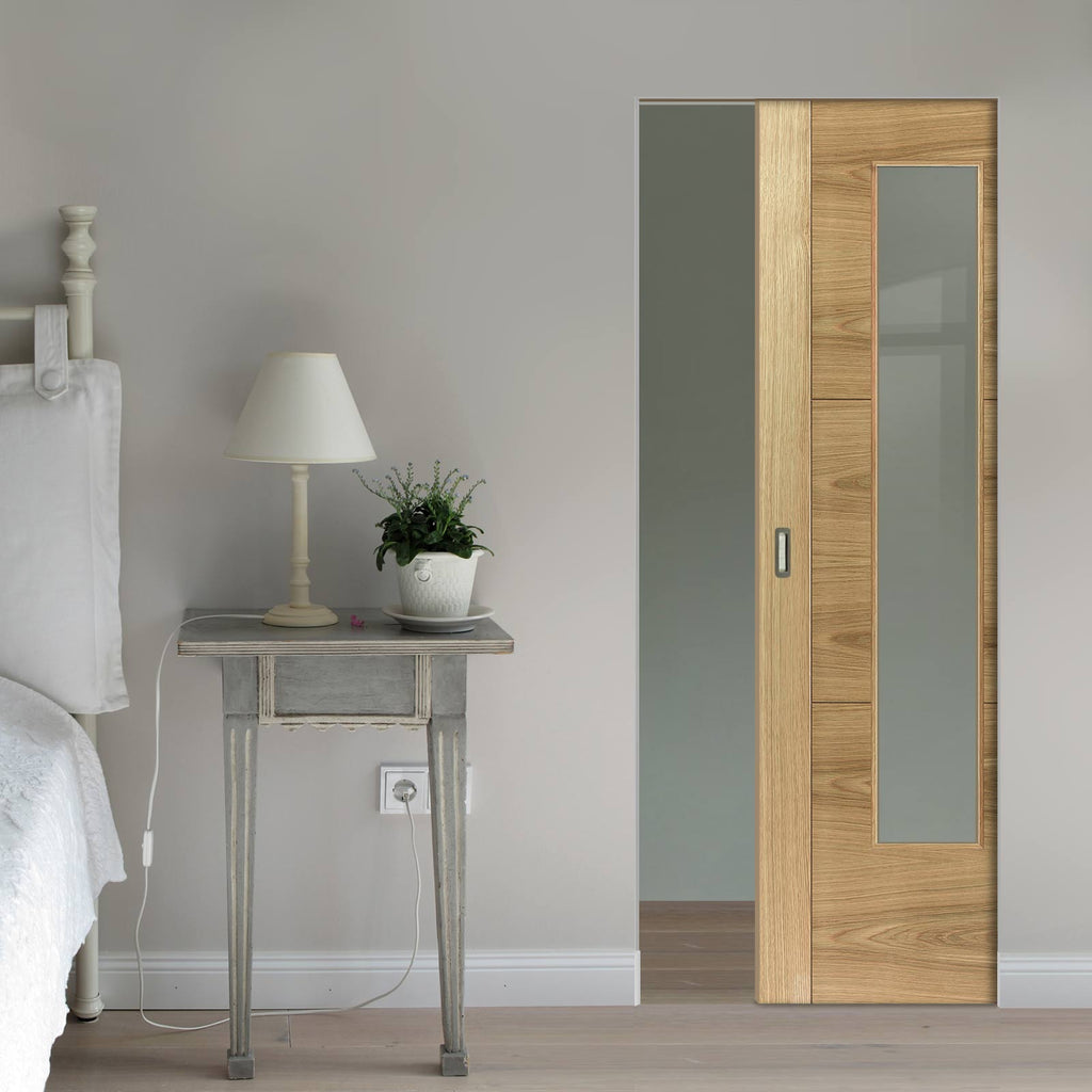 Mistral Oak Absolute Evokit Pocket Door - Clear Glass - Prefinished