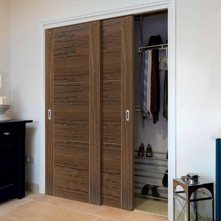 Image: Two Sliding Wardrobe Doors & Frame Kit - Mistral Flush Walnut Door - Decor Grooves - Prefinished