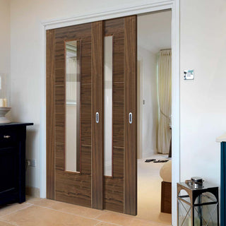 Image: Two Sliding Doors and Frame Kit - Mistral Flush Walnut Door - Decor Grooves - Clear Glass - Prefinished